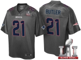 NEW ENGLAND PATRIOTS #21 MALCOLM BUTLER GRAY SUPER BOWL LI STRONGHOLD FASHION JERSEY