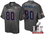 NEW ENGLAND PATRIOTS #80 DANNY AMENDOLA GRAY SUPER BOWL LI STRONGHOLD FASHION JERSEY
