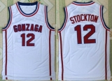 Utah Jazz #12 John Stockton White Gonzaga Bulldogs College Stitched NBA Jersey