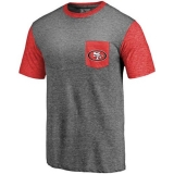 Men\'s San Francisco 49ers Pro Line by Fanatics Branded Heathered Gray Scarlet Refresh Pocket T-Shirt