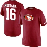 Nike San Francisco 49ers #16 Joe Montana Name & Number NFL T-Shirt Red