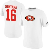 Nike San Francisco 49ers #16 Joe Montana Name & Number NFL T-Shirt White