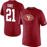 Nike San Francisco 49ers #21 Frank Gore Name & Number NFL T-Shirt Red