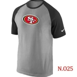 Nike San Francisco 49ers Ash Tri Big Play Raglan NFL T-Shirt Grey Black