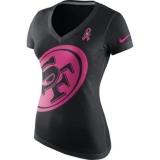 San Francisco 49ers Nike Women\'s Breast Cancer Awareness Tri-Blend V-Neck T-Shirt - Black