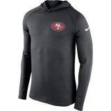 Men\'s San Francisco 49ers Nike Charcoal Stadium Touch Hooded Performance Long Sleeve T-Shirt