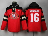 San Francisco 49ers #16 Joe Montana Black_Red Sawyer Hooded Sweatshirt Stitched Jersey