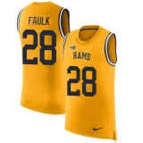 Nike Rams #28 Marshall Faulk Gold Men\'s Stitched NFL Limited Rush Tank Top Jersey