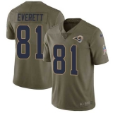 Nike Rams #81 Gerald Everett Olive Men\'s Stitched NFL Limited 2017 Salute to Service Jersey
