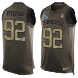 Nike Titans #92 Ropati Pitoitua Green Men\'s Stitched NFL Limited Salute To Service Tank Top Jersey