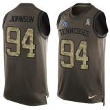 Nike Titans #94 Austin Johnson Green Men\'s Stitched NFL Limited Salute To Service Tank Top Jersey