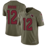Nike Cardinals #12 John Brown Olive Men\'s Stitched NFL Limited 2017 Salute to Service Jersey