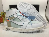 "(Final version)Authentic OFF-WHITE x Air Jordan 1 GS ""White Grey"""