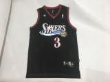 Philadelphia 76ers #3 Allen Iverson Black Throwback  The Answer  Stitched NBA Jersey