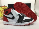 "(Final version)Authentic Air Jordan 1 Satin WMNS  ""Black Toe"" GS -ZLDG"
