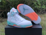 "2020.4 Super Max Perfect Air Jordan 5 ""Light Aqua"" Women Shoes -ZL"