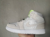 "2020.05 Normal Authentic quality and Low price Air Jordan 1 ""Grey Ghost Green"" Men And GS Shoes- LJR"