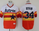 Mitchell and Ness Houston Astros #34 Nolan Ryan White Orange Stitched Throwback MLB Jersey