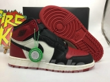 "(Final version)Authentic Air Jordan 1 "" Bred Toe"" GS- ZLDG"